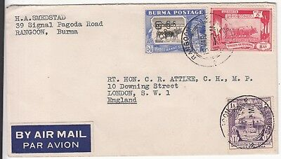 Burma: Airmail; H. A. Smedsted, Rangoon-British PM Clement Atlee, 15 March 1949