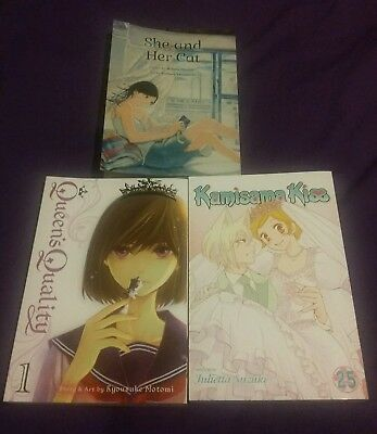 Kamisama Kiss Vol. 25, Queen's Quality Vol. 1, She and Her Cat Manga Lot