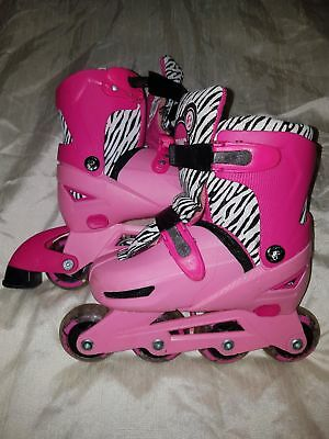 Girls Inline Skates Adjustable 13,1,2,3 With Knee Elbow And Hand Pads