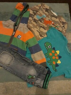 Next Boys Clothes Dino Dinosaur Bundle Top Jeans Hoodie 3-4 4-5 Years Outfit