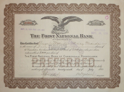 The First National Bank of Carbonale 1933