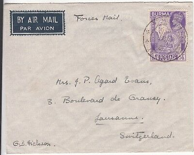 Burma: On Active Service Forces Airmail; G.D. Hickson, Rangoon to Lausanne, 1949