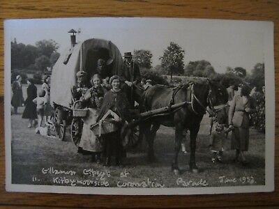 Old RPPC Gillamoor Gipsy's Gypsy's at Kirbymoorside Coronation Parade 1953 Yorks