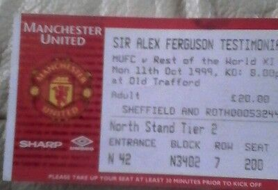 Manchester united v rest of the world sir Alex Fergus match day ticket 1999 home