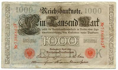 Original 1910 1000 Thousand Mark German Banknote