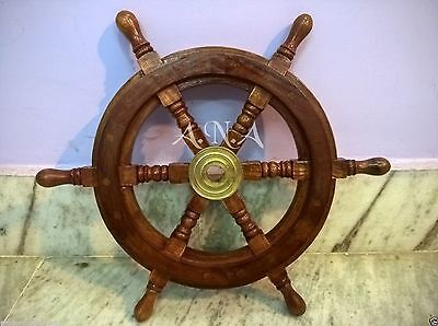 """15 """" Ship Wheel Wooden Marine Wall Decorative Collectible Item"""