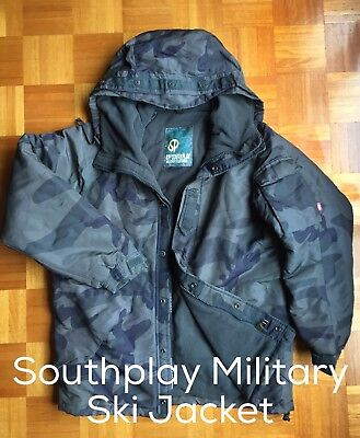 USED Southplay Mens Ski Snowboard Hiking Premium Military Jacket Size L