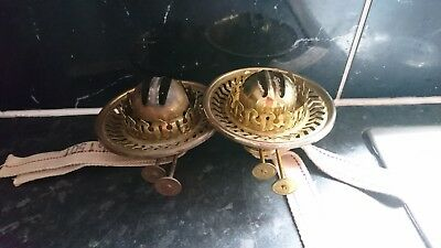 "2 Vintage Antique Oil Lamp Burners And 4"" Shade Holders"