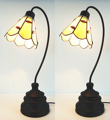 Traditional Vintage Tiffany Classic Style Antique Stained Glass Desk Table Lamps