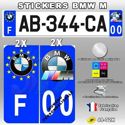 4X Stickers Plaques D'immatriculation 67x30 mm Bmw M POWER
