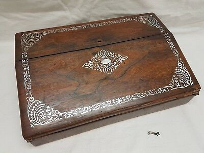 antique writing slope with key, mother of pearl and rosewood, writing box