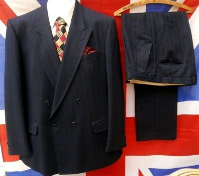 """1940's wartime style vintage Double Breasted Spiv Suit  44"""" chest,, 38"""" waist"""