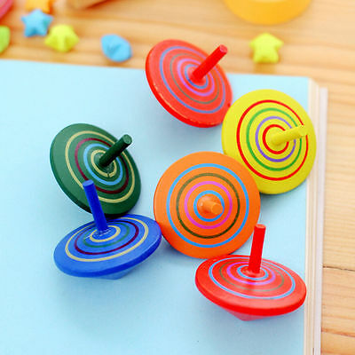 2X Wooden Gyro Spinning Top Peg-Top Cartoon Multicolor Kids Educational Toys FO