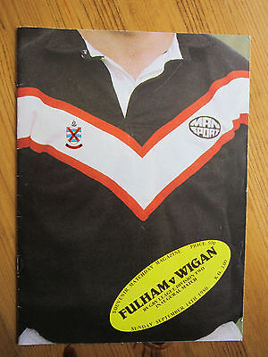 Fulham rugby league programme first ever game - v Wigan 14/9/80