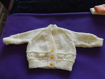 hand knitted babies cardigan approx 0-3 months