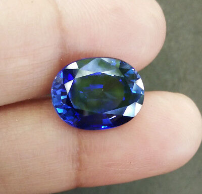 6.60cts.13x10mm. Oval Blue Sapphire Excellent Cutting Lab Corundum Gems AAA+