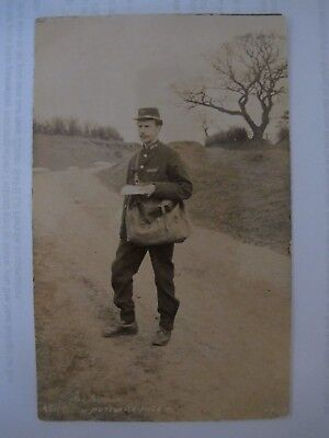 Old RPPC The Postman HUTTON LE HOLE Yorks Yorkshire Mail Man