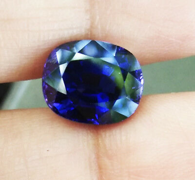 5.75cts.10.5x9mm.Cushion Blue Sapphire Excellent Cut Lab Corundum Gems AAA+