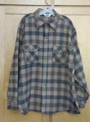 3049139e9be70 Made in USA Vintage Woolrich  Gray Brown Plaid Check Wool Shirt Shirt.