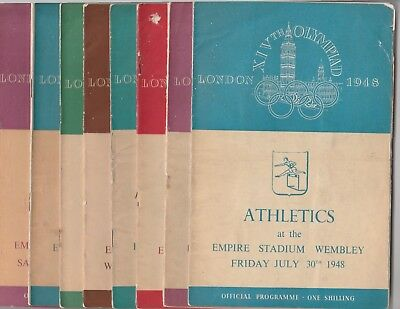 1948 Olympic Games ATHLETICS Complete Set of Eight Programmes.