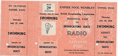 1948 Olympic Games. SWIMMING Ticket. RADIO BROADCASTING SEATS. BBC