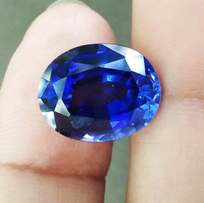 8.10cts.13x10mm.Oval Blue Sapphire Excellent Cut Lab Corundum Gems AAA++