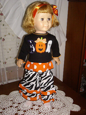 """""""BOO"""" Halloween/Fall outfit fits Chatty Cathy w/Ghost & Pumpkin trim ADORABLE!!"""