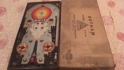 Vintage Boxed 1930's GOTHAM BIG SHOT BAGATELLE Spring loaded PINBALL GAME 61x31