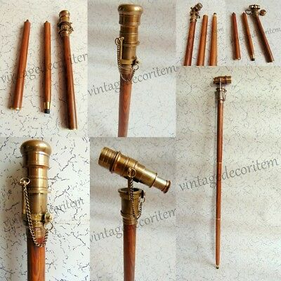 Antique Brass HIDDEN TELESCOPE Wooden Walking Stick Vintage Canes CHRISTMAS GIFT