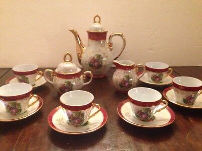 Vintage Imperial Porcelain Lusterware Demitasse Set w/ Courting Couple 15 pcs.