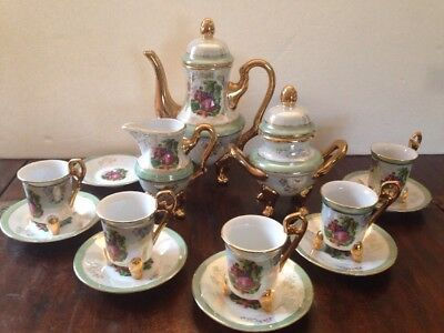 Vintage Imperial Porcelain Lusterware Demitasse Set w/ Courting Couple 14 pcs.