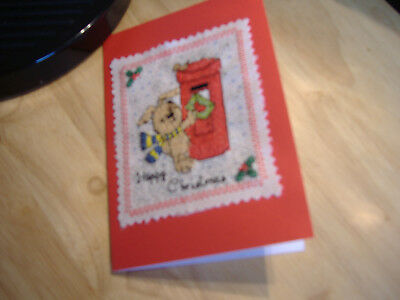 "Christmas card completed cross stitch""Dog at postbox"" 10cm x15cm"