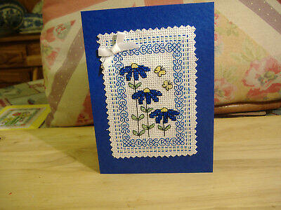 Birthday notelet cross stitch completed card Blue Flowers 10cm x15cm