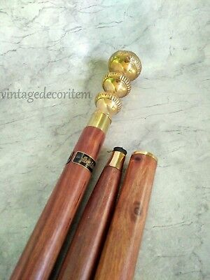 Antique Brass Designer Style Cane Wooden Walking Stick Vintage Nautical Canes