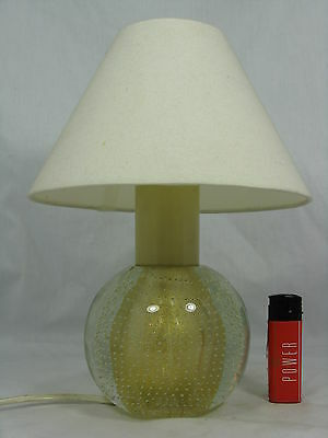 Beautiful 70´s Murano glass desk lamp / Tisch Lampe / gold foil & air bubbles