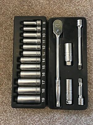 "Snap On 3/8"" Classic Long Handle Ratchet Set With 3/8"" Deep Socket Set."