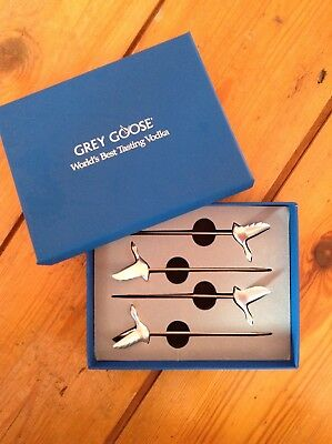 Grey Goose Vodka steel cocktail sticks. New boxed set of 4