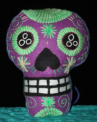 Large Felt Sugar Skull Hand Embroidered Day of the Dead Pillow Mexico Folk Art