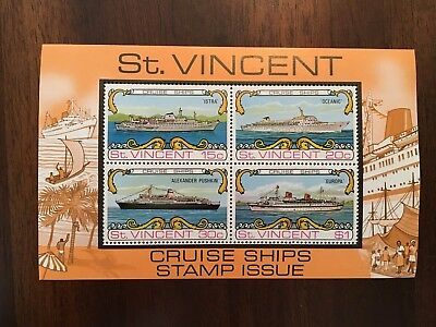St. Vincent Cruise Ships Issue Postage Stamp Sheet MNH
