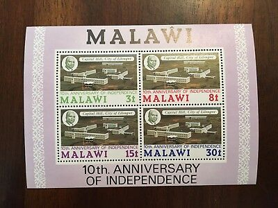 Malawi 10th Anniversary of Independence Postage Stamp Sheet MNH