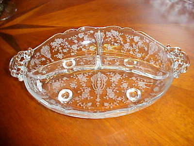 """Cambridge Glass Co Rose Point 3 Part Relish Celery Dish 11"""" By 7 1/8"""" Footed"""