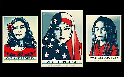 Shepard Fairey - We the people * 3 Prints * Obey Giant* Limited Official Edition