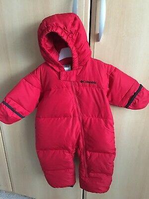 Columbia Snowsuit Red Aged 12 Months. Down/feather filled.