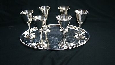 Set Of Six Vintage Silver Plate Italy Shots Goblets & Silver Plate Drinks Tray