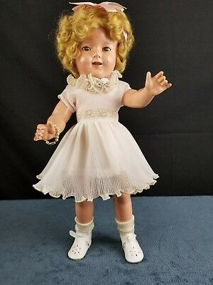 Vintage Ideal Shirley Temple Composition Doll 18 inch 1930's Original Wig Cute!