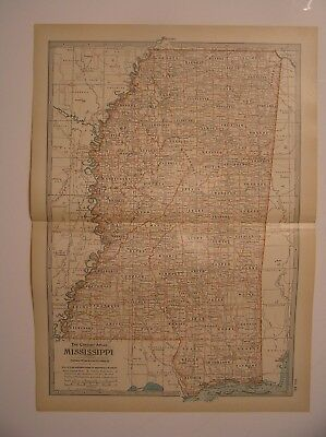ANTIQUE MAP OF ARKANSAS From the Century Atlas of the World, 1911 Edition