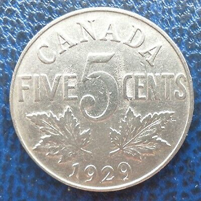 1929 Canada  5 Cents George V Canadian Nickel 5 cents