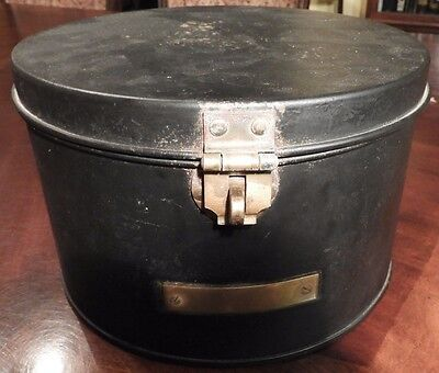 Black Hat Box with Brass Turn Lock & Nameplate