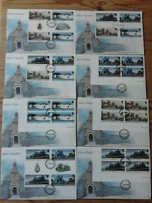 Manx Churches collection of 8 fdc and mint stamps