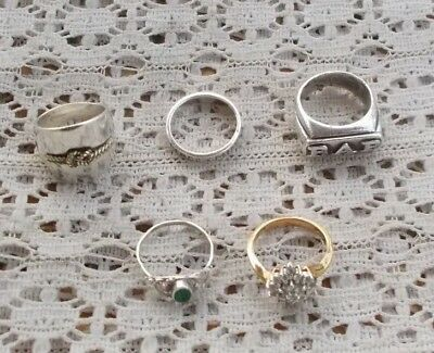 LOT Vintage Jewelry Sterling Silver Rings Men's Heavy CZ Stones Rope Knot MORE
